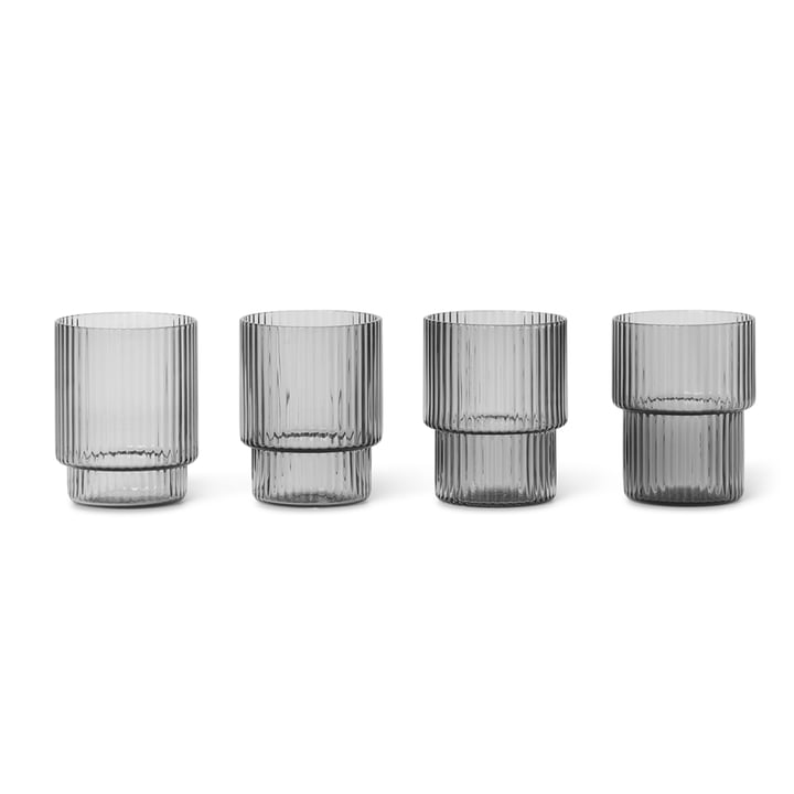 Ripple Glasses, smoked grey (set of 4) by ferm Living