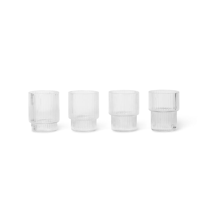 Ripple Drinking glass small, clear (set of 4) by ferm Living