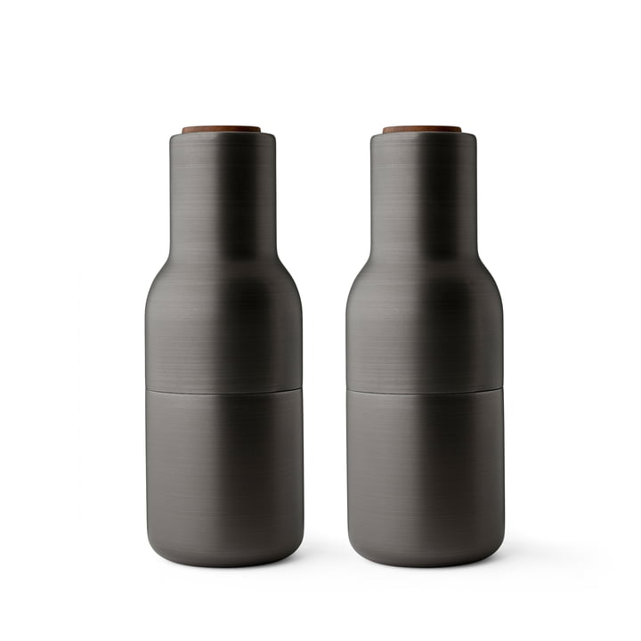 Bottle Salt and Pepper Mills Set from Menu in Brass burnished (wooden cover Walnut)