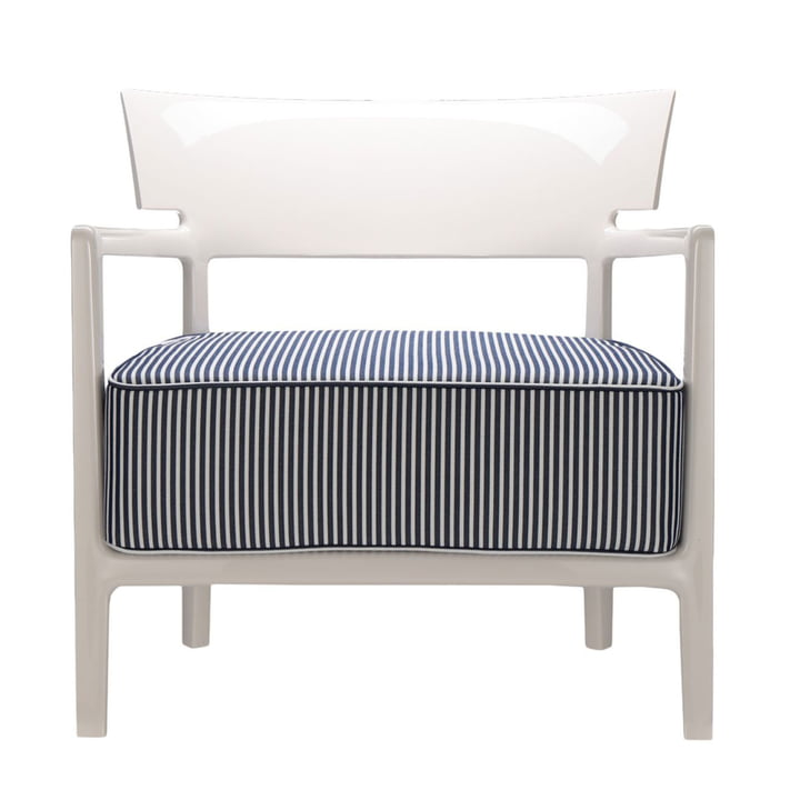 Cara Outdoor armchair by Kartell with ivory frame / cover blue-white