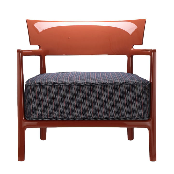 Cara Outdoor armchair by Kartell with orange frame / rusty blue cover