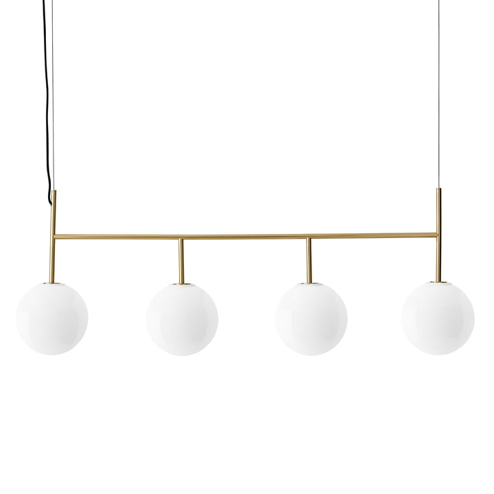 TR pendant luminaire with suspension frame (4-flame) from Menu in brass / illuminant shiny opal