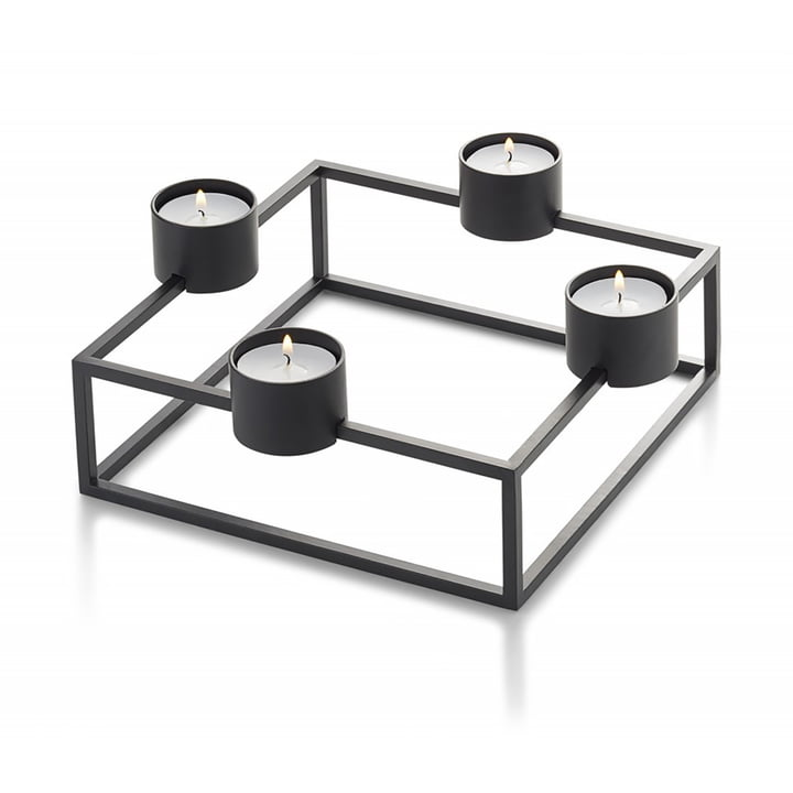 Cubo tealight holder, black by Philippi