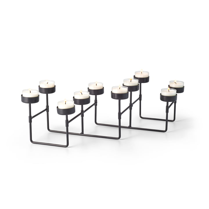 Lab tea light holder for 10 tea lights in black by Philippi