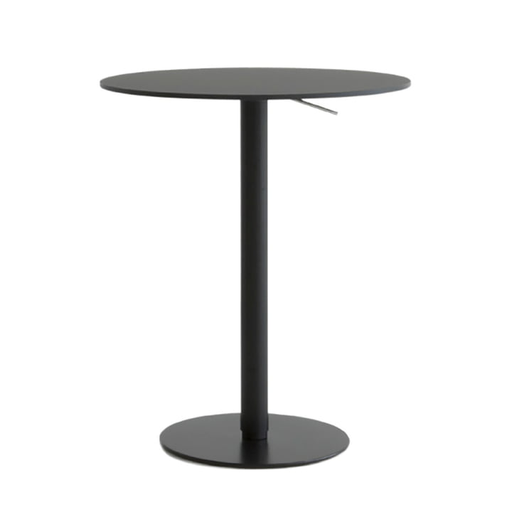 Brio bar table height: 72-102 cm, Ø 60 cm from La Palma in HPL Fenix black
