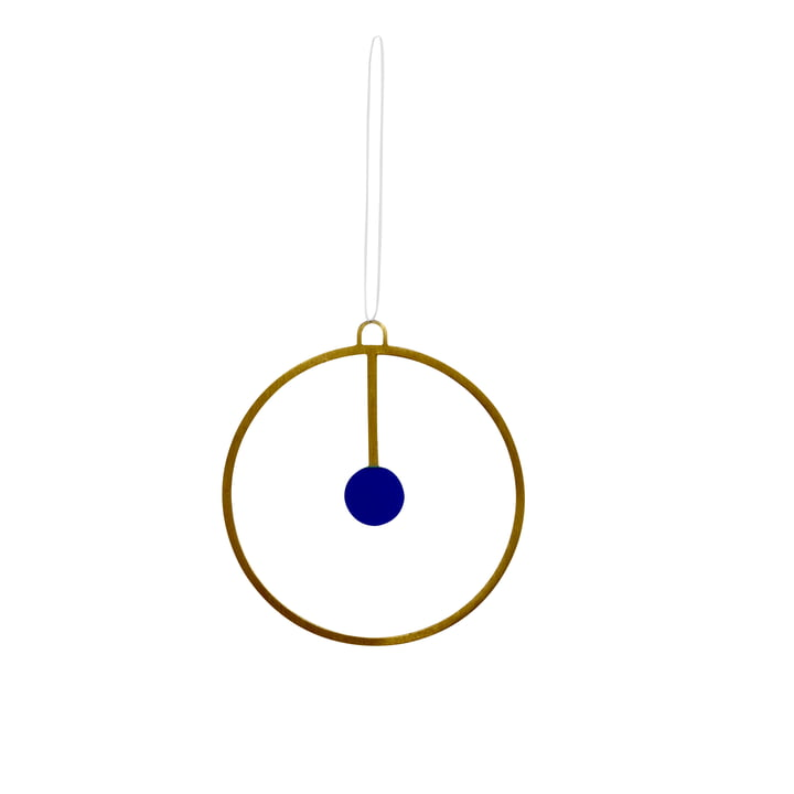 Christmas decoration pendant Joulu Ø 7,5 cm in brass / blue by OYOY