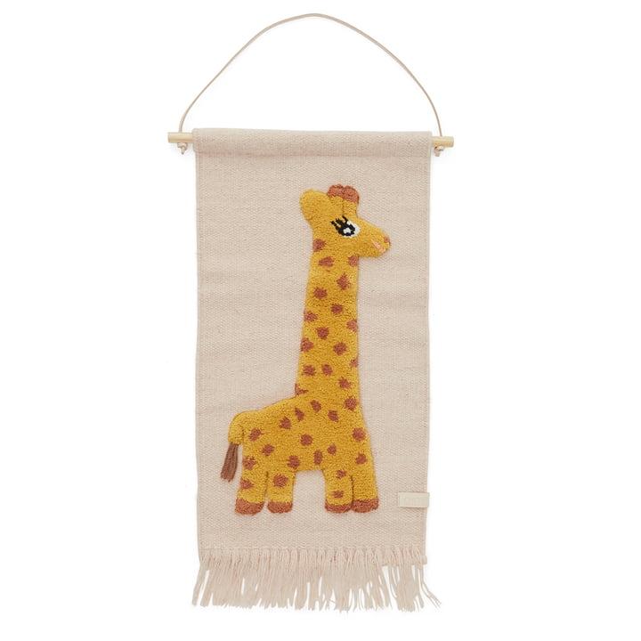 Children's tapestry with animal motif, giraffe / rose by OYOY