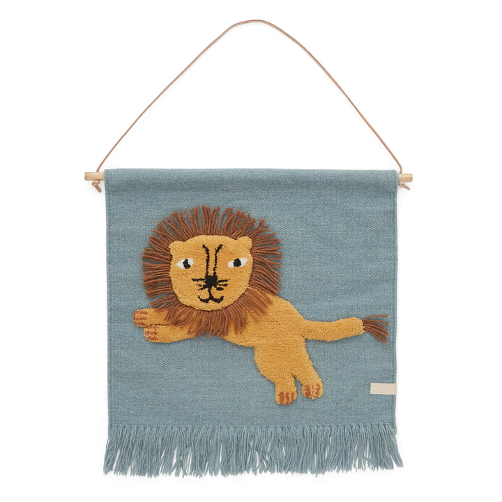 Children's tapestry with animal motif, lion / tourmaline by OYOY