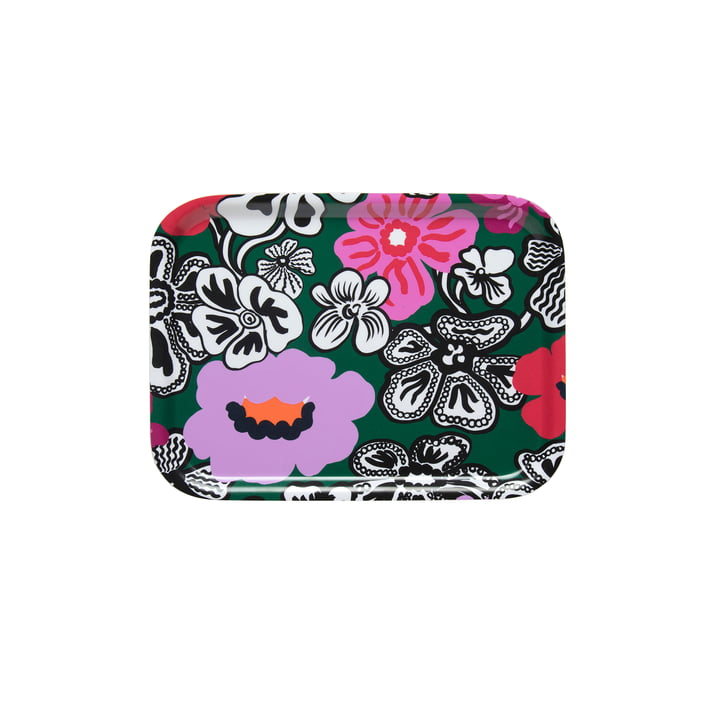 Kaukokaipuu tray 27 x 20 cm from Marimekko in green / purple / red