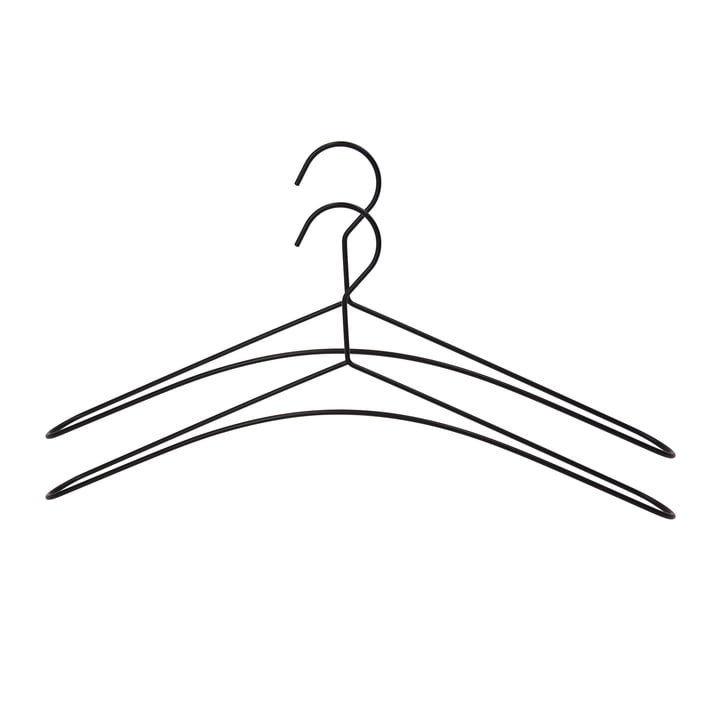 Black metal coat hanger in set of 2 by Connox