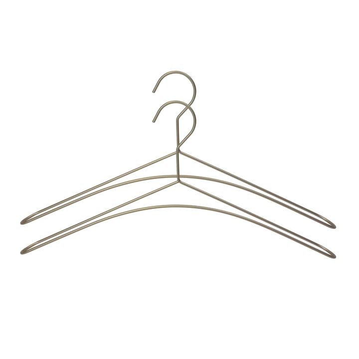 Set of 2 wire coat hangers in silver-grey