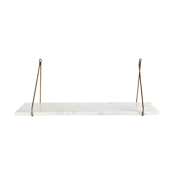 Marble wall shelf 24 x 70 cm by House Doctor in brass / marble white