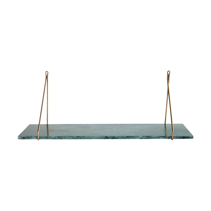 Marble wall shelf 24 x 70 cm by House Doctor in brass / marble green