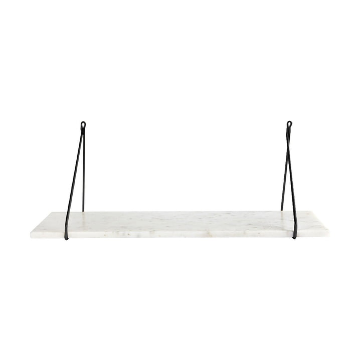 Marble wall shelf 24 x 70 cm by House Doctor in black / marble white