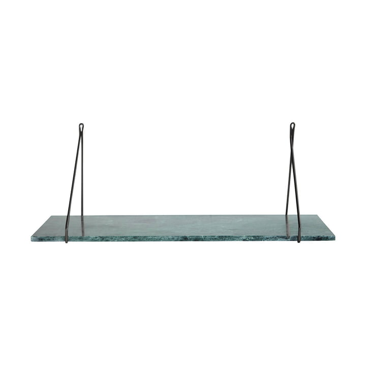 Marble wall shelf 24 x 70 cm by House Doctor in black / marble green
