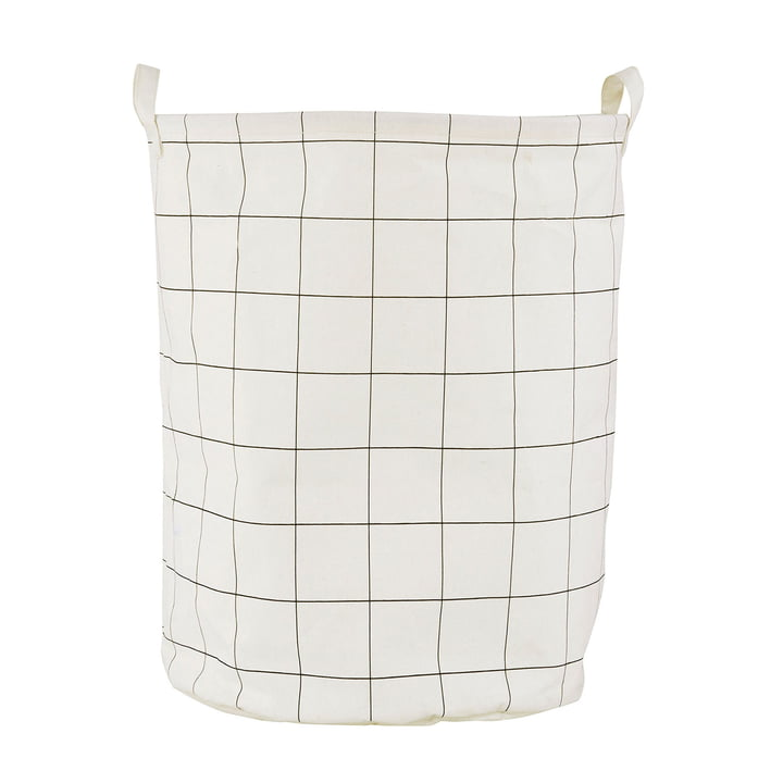 Laundry basket Squares Ø 40 x H 50 cm by House Doctor in black / white