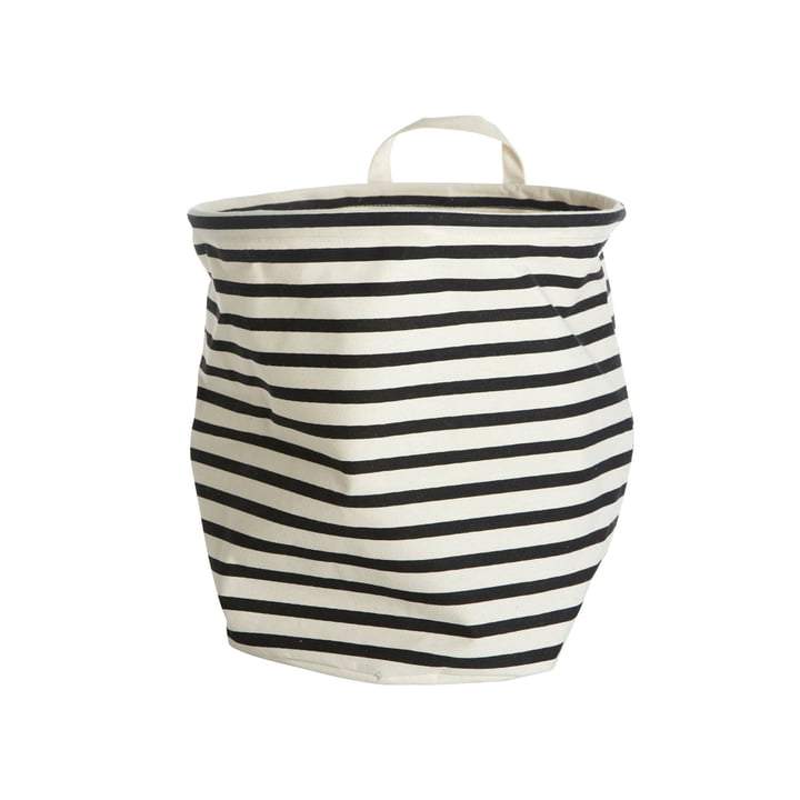 Storage Basket Stripes Ø 30 x H 30 cm by House Doctor in black / white