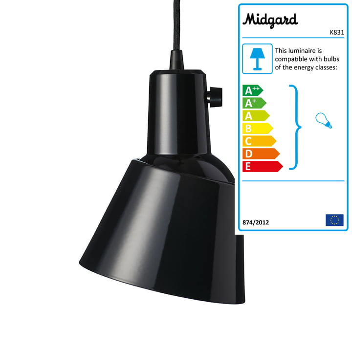 K831 Pendant lamp from Midgard in black enamelled