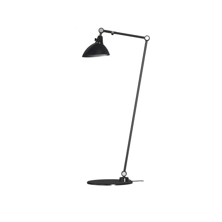 Modular 556 Floor lamp by Midgard 100/30 cm in black with aluminium hinged caps