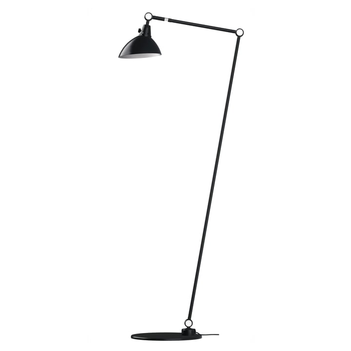 Modular 556 floor lamp by Midgard 140/40 cm in black with aluminium hinged caps
