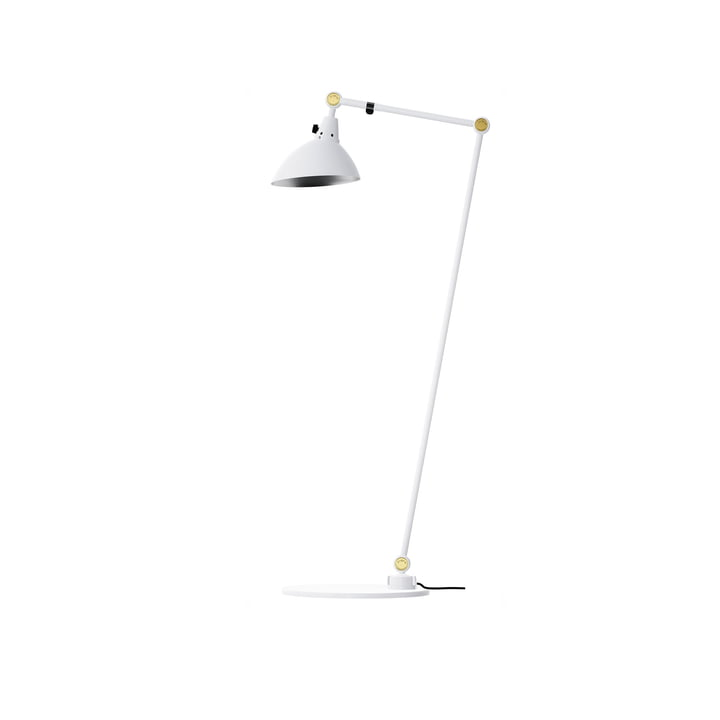 Modular 556 Floor lamp by Midgard 100/30 cm in white with brass hinged caps