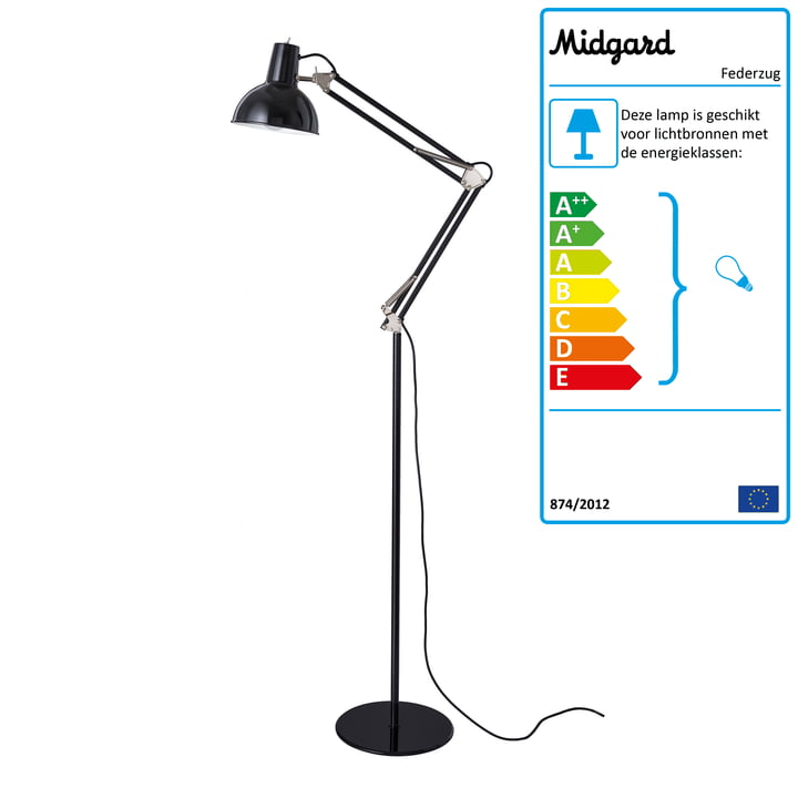 Spring balancer floor lamp from Midgard in black