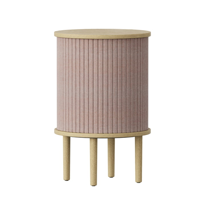 Audacious Side table with USB connection Ø 38 x H 5 9. 3 cm from Umage in natural oak / dusty rose