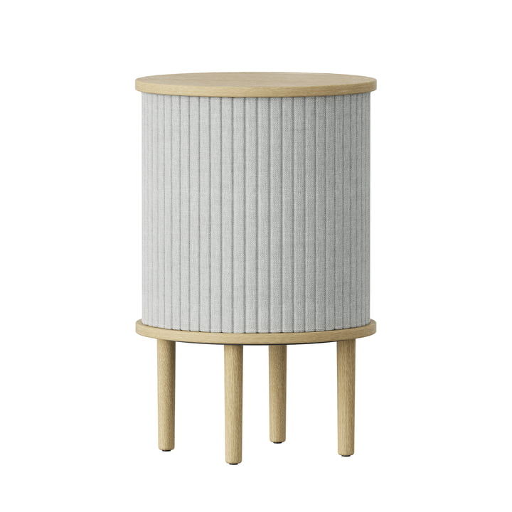 Audacious Side table with USB connection Ø 38 x H 5 9. 3 cm from Umage in natural oak / silver grey