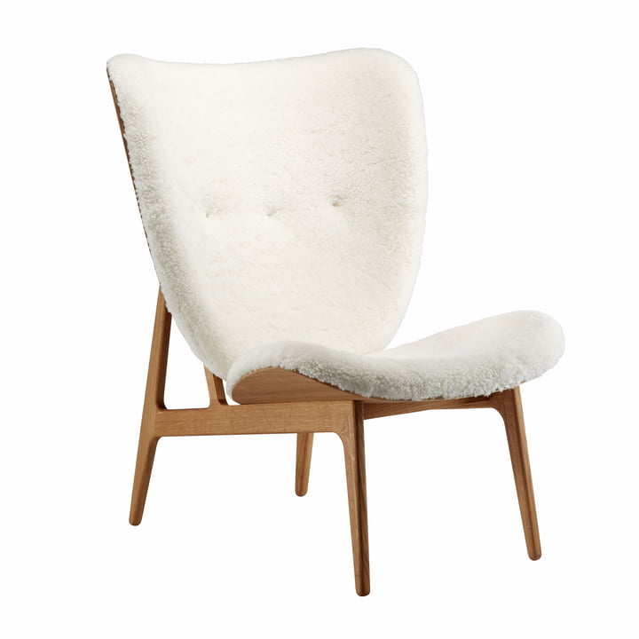 Elephant Lounge Chair by Norr11 smoked oak / sheepskin off-white