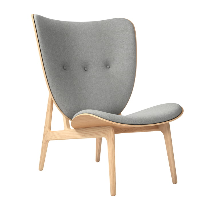 Elephant Lounge Chair by Norr11 in natural oak / wool light grey (Light Grey 1000)