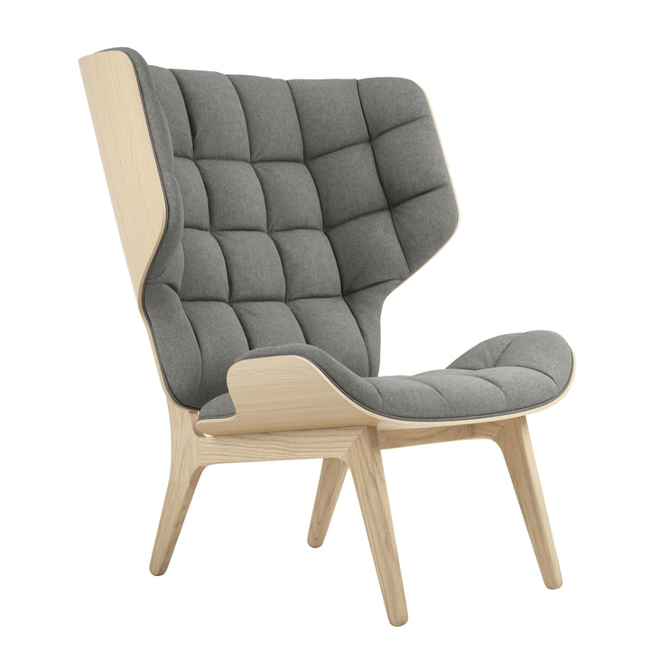 Mammoth Lounge Chair by Norr11 in natural oak / wool light grey (Light Grey 1000)