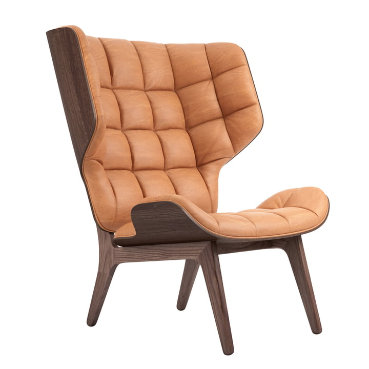 Mammoth Lounge Chair by Norr11 in oak stained / leather cognac (21000)