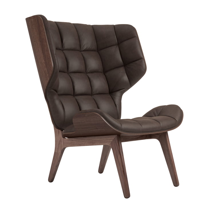 Mammoth Lounge Chair by Norr11 in oak stained / leather dark brown (21001)