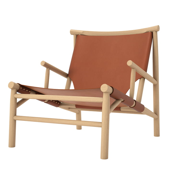 Samurai Lounge Chair by Norr11 in oak nature / leather cognac