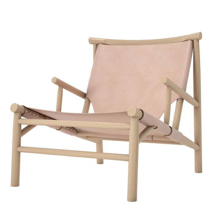 Samurai Lounge Chair by Norr11 in natural oak / natural leather