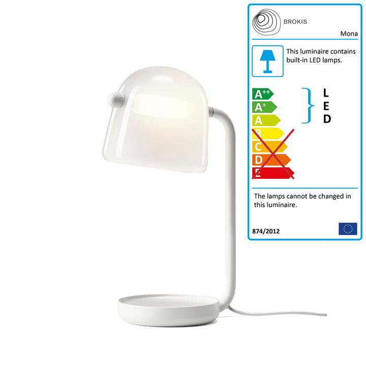 Mona LED table lamp by Brokis in glass opal / frame white / textile cable white