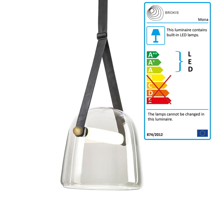Mona LED pendant lamp medium from Brokis in glass clear / oak waxed / black / leather black