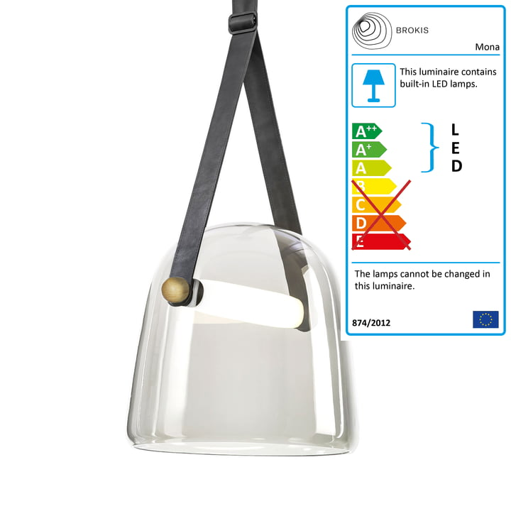 Mona LED pendant lamp large by Brokis in glass clear / oak waxed / black / leather black