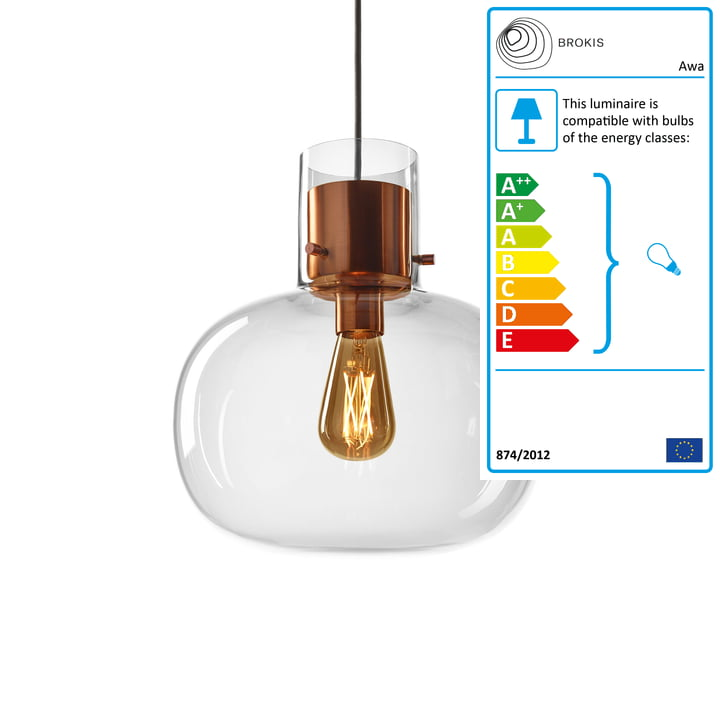 Awa pendant lamp small by Brokis in glass clear / copper / textile cable black