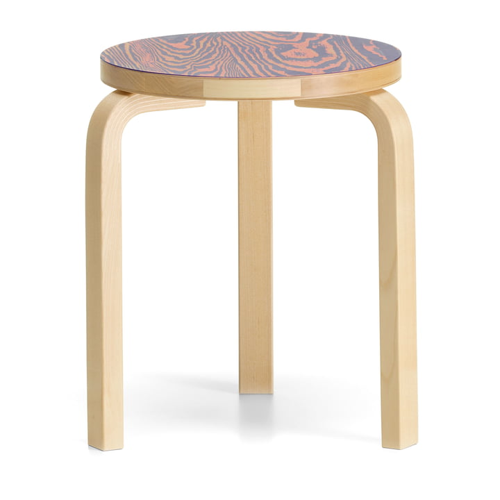 Stool 60 ColoRing Editon by Artek in clear lacquered / pink-purple