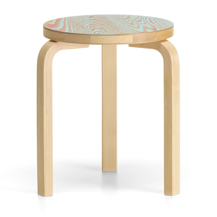 Stool 60 ColoRing Editon by Artek in clear lacquered / red-turquoise