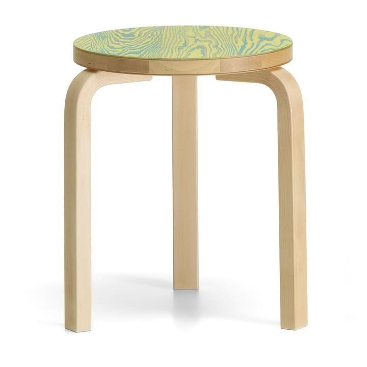 Stool 60 ColoRing Editon by Artek in clear lacquered / green-yellow