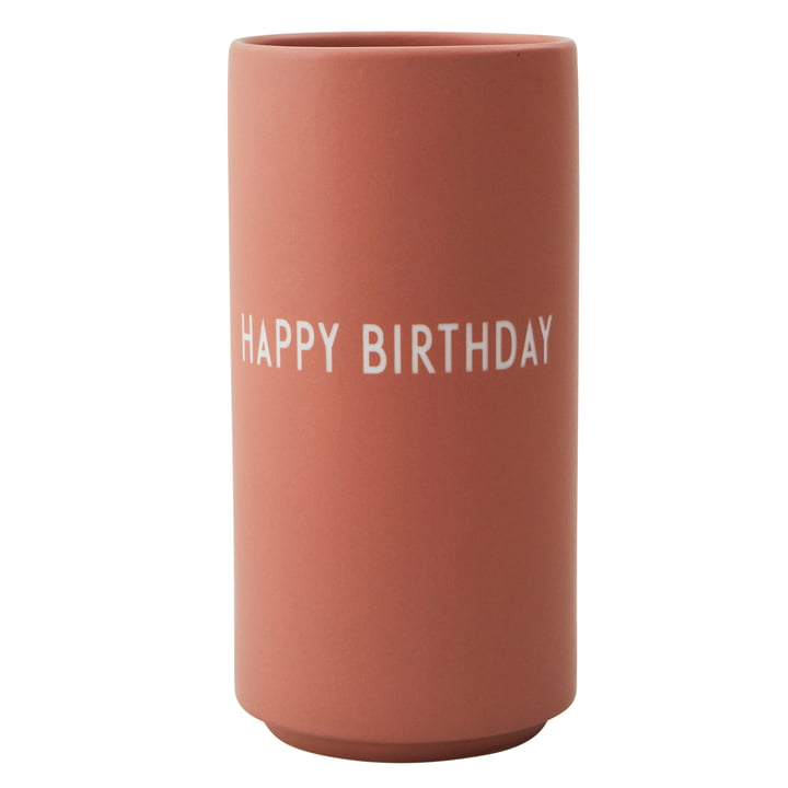 AJ Favourite Porcelain Vase Happy Birthday by Design Letters in nude