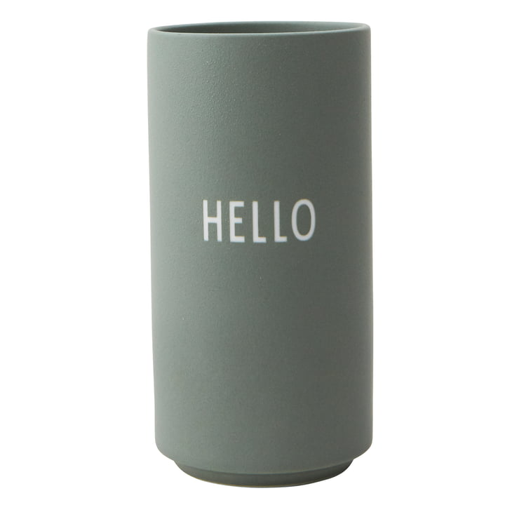 AJ Favourite Porcelain Vase Hello by Design Letters in green