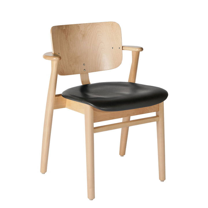 Domus Chair from Artek in clear lacquered birch / black leather (L1-40672)