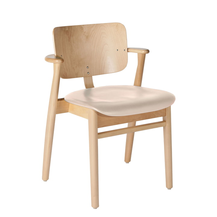 Domus Chair from Artek in clear lacquered birch / cream leather (L1-40671)