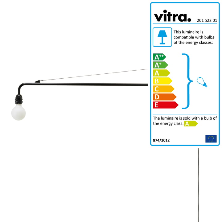 Petite Potence wall lamp in deep black by Vitra