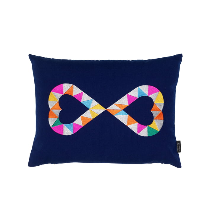 Embroidered pillow Double Heart 2 40 x 40 cm from Vitra in blue