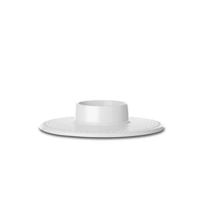 Rhombe candle holder Ø 14,5 cm from Lyngby Porcelæn in white
