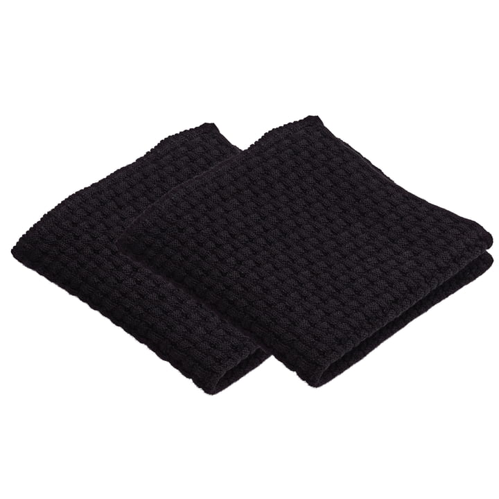 Nors dishcloth 27 x 27 cm, black by Georg Jensen Damask